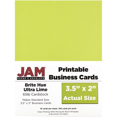 Jam paper printable business cards 3 12 x 2 brite hue ultra lime jam paper printable business cards 3 12 x 2 brite hue ultra reheart Gallery