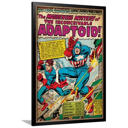 Marvel Comics Retro: Captain America Comic Panel, The Inconceivable Adaptoid! with Bucky (aged) Framed Poster Wall Art