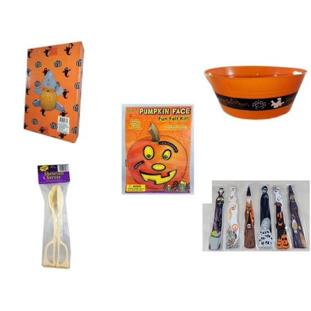 Halloween Fun Gift Bundle [5 Piece] -  Ghost Pumpkin Push In 5 Piece Head Arms Legs - 17.75 Inch Orange