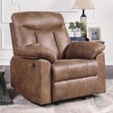 Becket Memory Foam Rocker Recliner with USB Vintage Brown