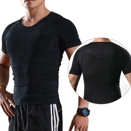 Image Hommes Body Shaper Tummy taille amincissant Shirt Gilets de compression Shapewear Taille XL Noir