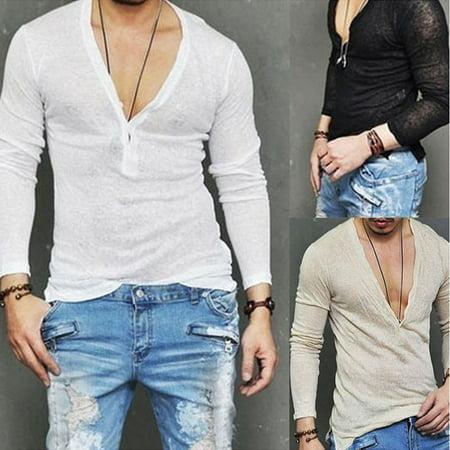 b8bb4321 Urkutoba - Men Slim Fit V Neck Long Sleeve Muscle Tee T-shirt Casual Tops  Henley Shirts - Walmart.com
