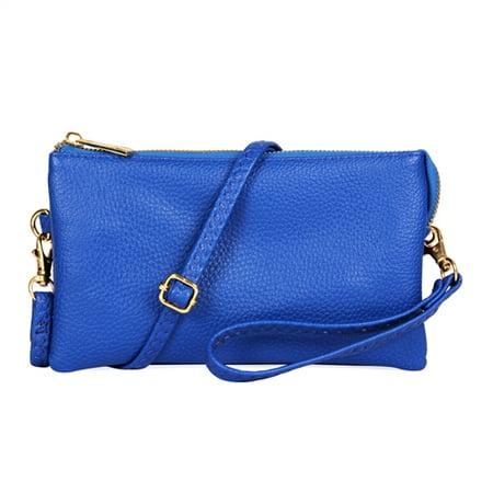 Riah Fashion Convertible Vegan Leather Wallet Purse Clutch - Small Handbag Phone/Card Slots & Detachable Wristlet/Shoulder/Crossbody Strap (Little Silver Mesh Bag)