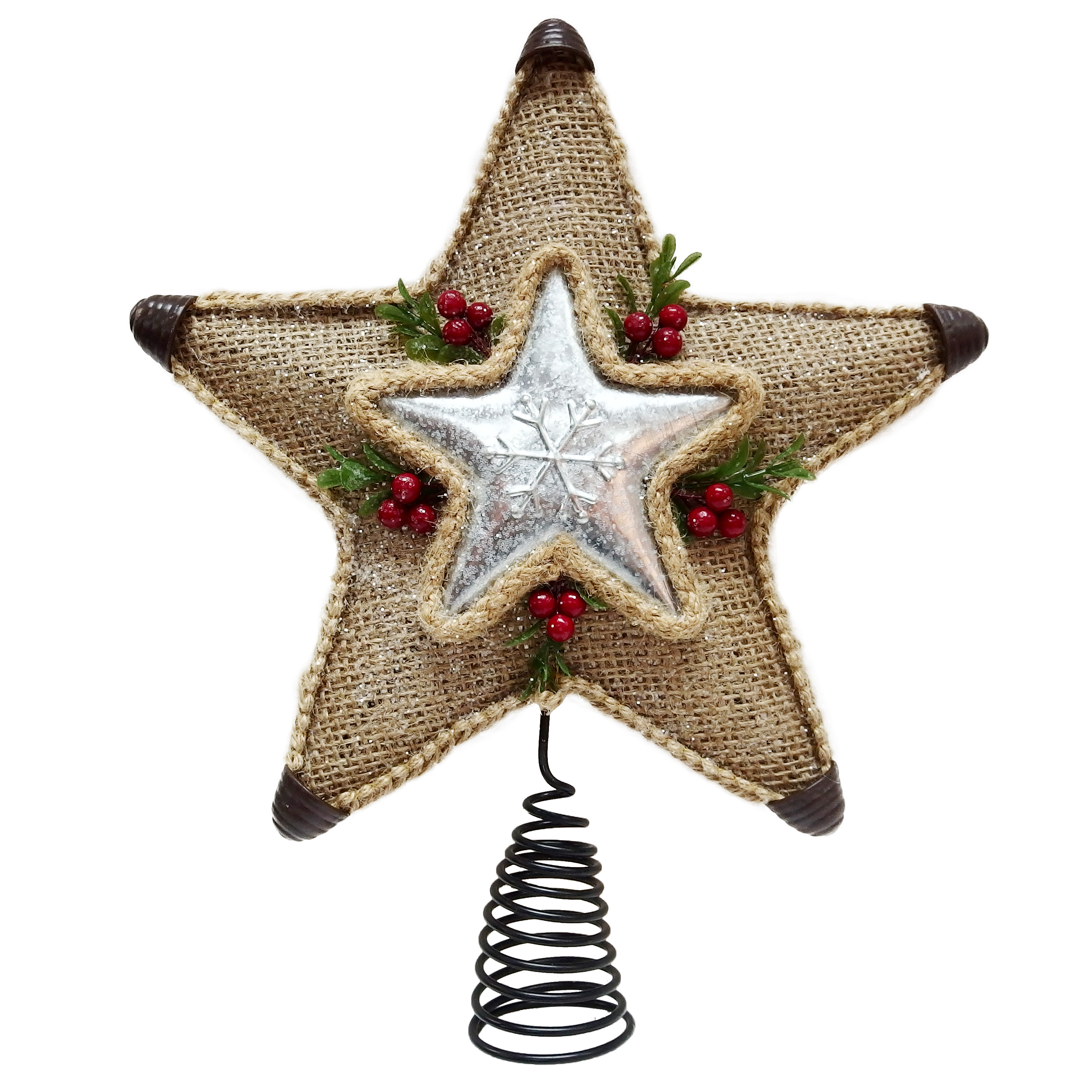 Holiday Time Burlap Star Tree Topper