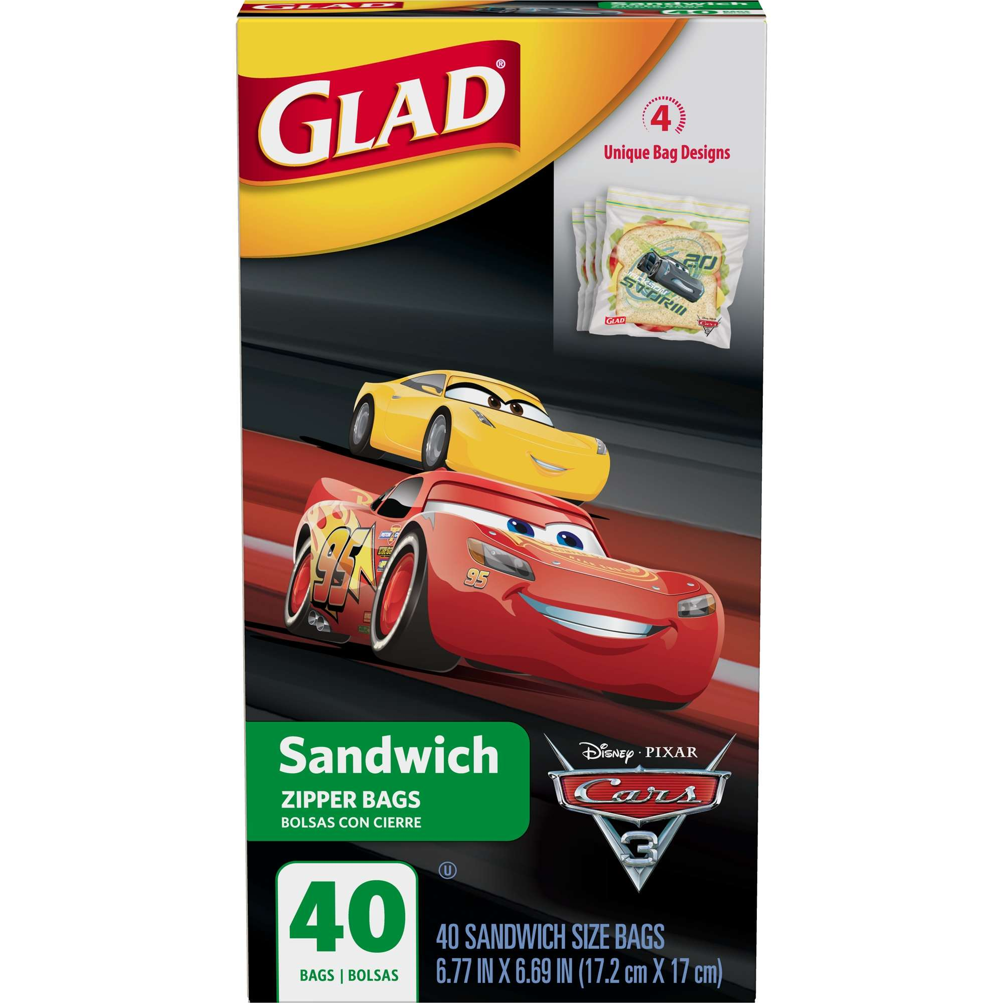 Glad Zipper Food Storage Sandwich Bags, Disney-Pixar Cars, 40 ct