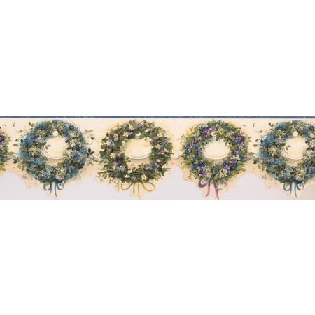 Blue Pink Purple Wreaths Floral Wallpaper Border Retro Design, Roll 15' x 6'' - image 2 of 3