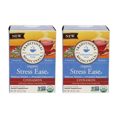 Tea Cinnamon Stress Ease Organic, 16 ct (Pack of 2), Relieves Tension and Promotes Relaxation By Traditional