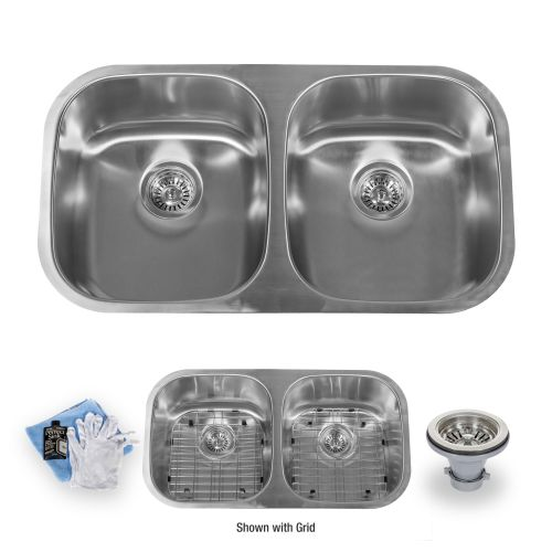 "Miseno MSS3218C5050 32"" Undermount Double Basin Stainless Steel Kitchen Sink with 50/50 Split - Drain Assemblies, Basin Racks and Maintenance Kit Included"