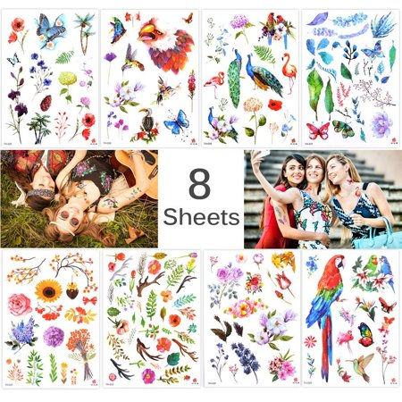 Lady Up 8 Sheets Flower Temporary Tattoos Stickers for Women Girls & Kids Fake Tattoo Body Art