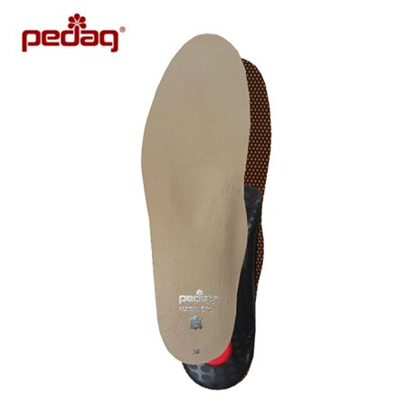 pedag® MAGIC STEP PLUS Orthotic Insole with Memory Foam Leather Charcoal Anti-Odor, Size 10M - Toms Leather Insole