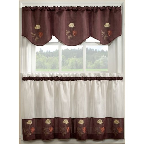 Rose Embroidered Kitchen Curtain
