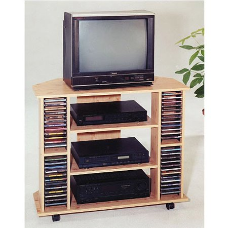 Oak Corner TV Stand with Storage, for TVs up to 35″