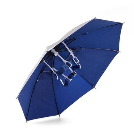 RUNACC Sun-proof Umbrella Hat Folding Umbrella Cap Lightweight Sun Rain Headwear, Suitable for Camping, Fishing, Golfing and Hiking, Blue - Ubrella Hat
