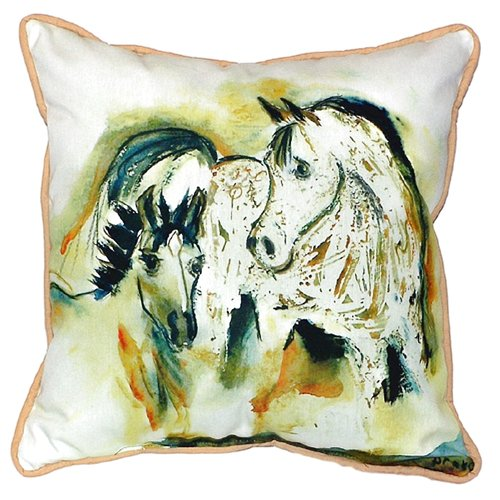 Betsy Drake Interiors Mare and Colt Indoor/Outdoor Throw Pillow