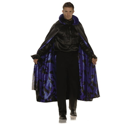 Satin Blue Bat Cape Adult Male Halloween Costume Accessories - One Size
