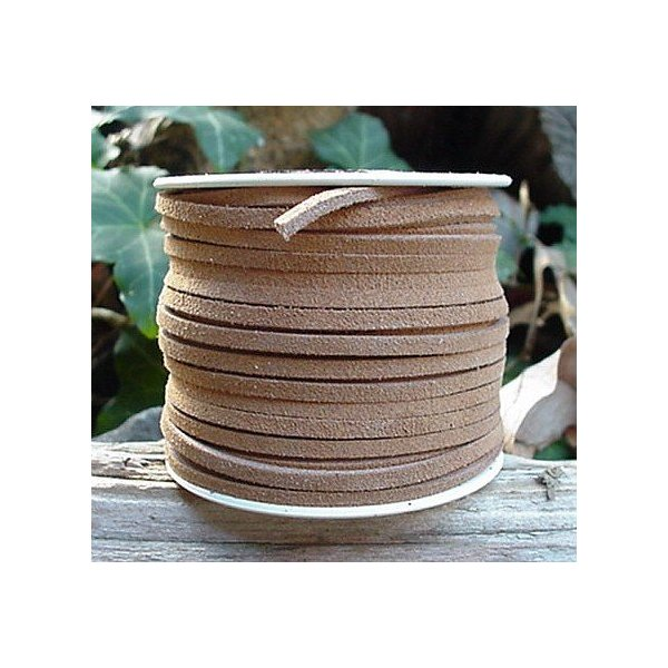 Lace Lacing Leather Suede, Very Light Brown (Beige) 25 Yard Spool
