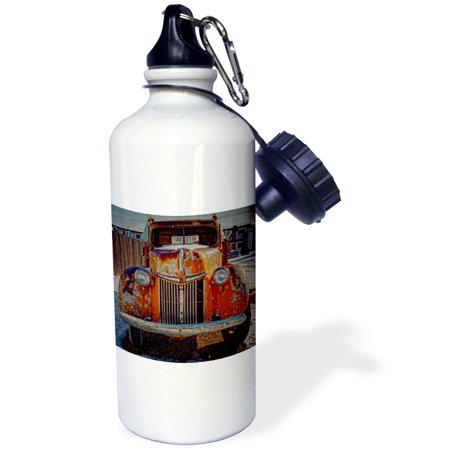 Antique Snuff Bottles - 3dRose Artistic winter scene with antique Orange Truck, Sports Water Bottle, 21oz