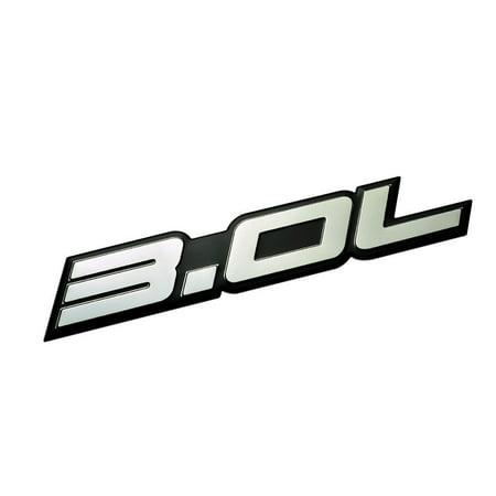 - 3.0L Liter Embossed SILVER on Black Highly Polished Real Aluminum Auto Emblem Badge Nameplate for Acura BMW Honda Accord Hyundai Sonata Mazda Mitsubishi Outlander Eclipse Nissan Maxima Pathfinder