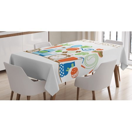 Fitness Tablecloth  Healthcare Theme Athletic Energetic Life Routine Wellness Gym Equipment Vegetables  Rectangular Table Cover For Dining Room Kitchen  52 X 70 Inches  Multicolor  By Ambesonne