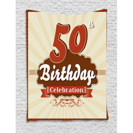 50th Birthday Decorations Tapestry, Retro Old Fashion Celebration Theme Stripes and Dots, Wall Hanging for Bedroom Living Room Dorm Decor, 40W X 60L Inches, Scarlet Brown Eggshell, by - Retro Decorations