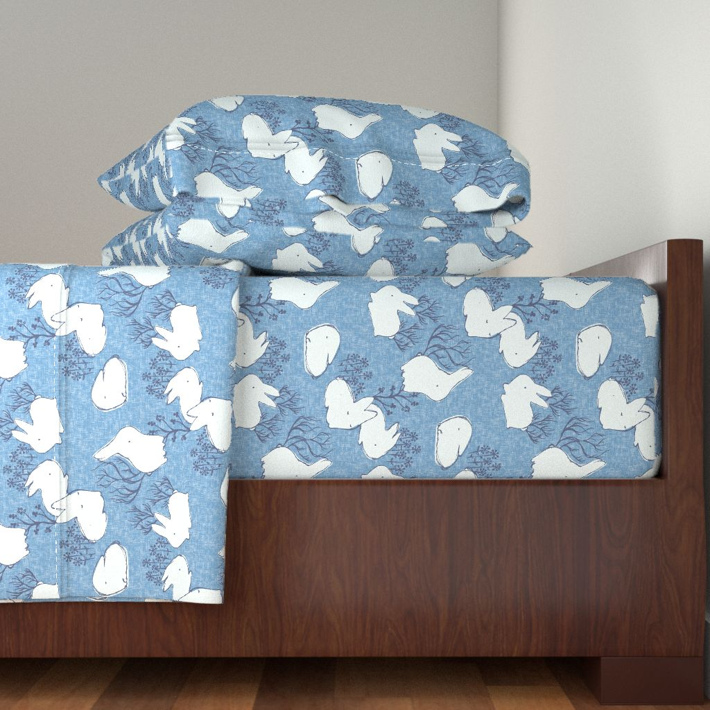 Arctic Animals Arctic Hare Hare Rabbit 100% Cotton Sateen Sheet Set by Roostery