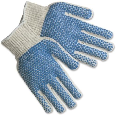Mcr Safety Pvc Dots Cotton/polyester Gloves - White - Cotton, Polyester, Polyvinyl Chloride [pvc] - Grip Dots, Abrasion Resistant - 1/pack (mpg9660lm)