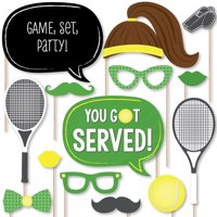 You Got Served - Tennis - Baby Shower or Tennis Ball Birthday Party Photo Booth Props Kit - 20 Count