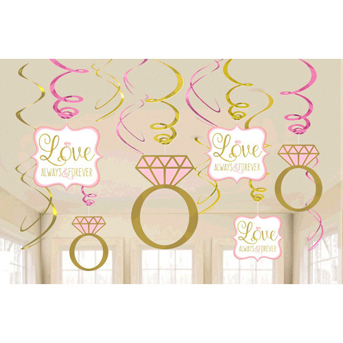 Sparkling Wedding Hanging Swirl Decorations (12pc)