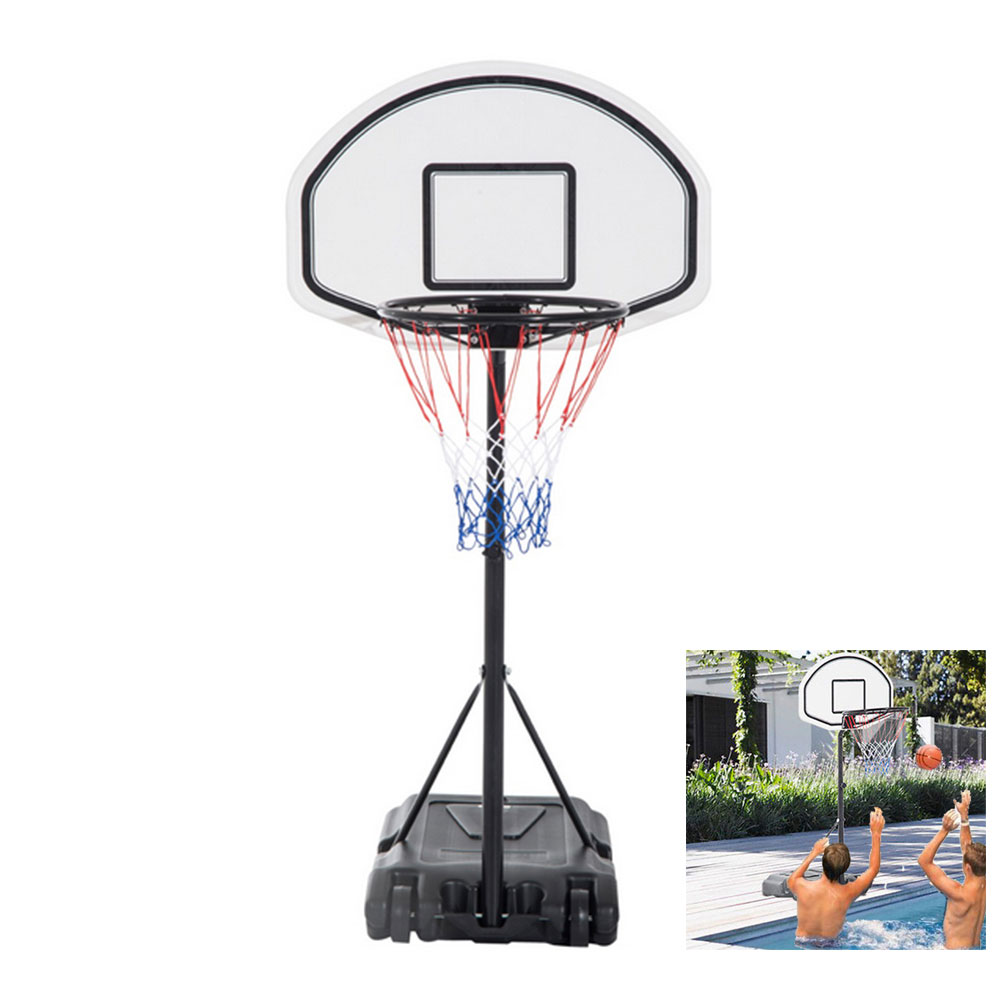 "Zimtown Portable Pool Basketball Hoop, 35.4"" - 47.2"" Height Adjustable Kids Youth Basketball Goal Stand System with Wheels, Net, Backboard, for Swimming Poolside Water Games Sports"
