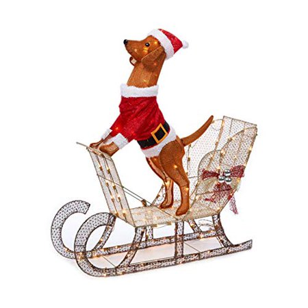 Outdoor Christmas Sleigh.Holiday Home Outdoor Christmas Lighted Light Up Santa Dog In Sleigh Sculpture Yard Decoration