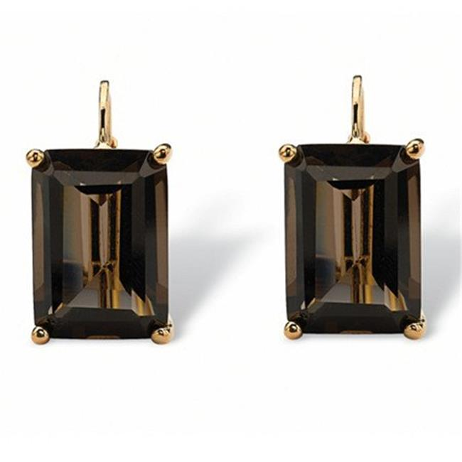PalmBeach 13561 14.50 TCW Emerald-Cut Smoky Quartz Drop E...