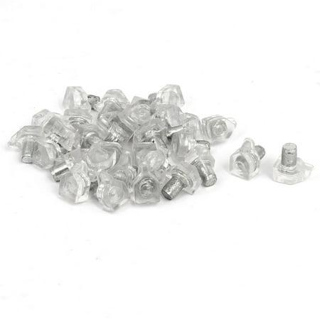 Wardrobe Cupboard Cabinet Drawer Plastic Shelf Support Pins Brackets Clear 30pcs (Drawer Support)