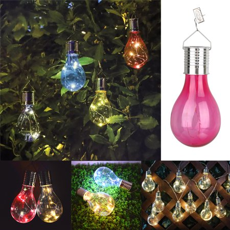 Recharge LED Solar Panel Powered Bulb Light Hanging Decor LED Light Lamp Bulb for Garden Home Patio Indoor Outdoor