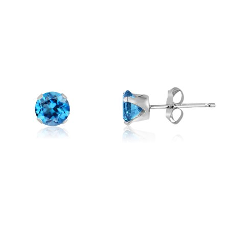 Round 2mm Sterling Silver Genuine Swiss Blue Topaz Stud Earrings, Free Gift Box (Polished Genuine Swiss)