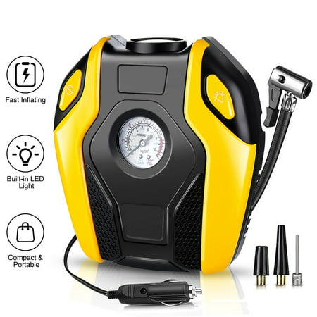 AUDEW Portable Electric Air Compressor Pump,Tire Inflator with Gauge,LED Light and Adaptors,Universal for Car, Truck, Bicycle, Basketballs and Other Inflatables,ABS 12V 120W (Best Tire Inflator With Gauge)