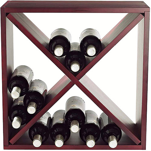 Wine Enthusiast 24-Bottle Compact Cellar Cube Wine Rack, Mahogany