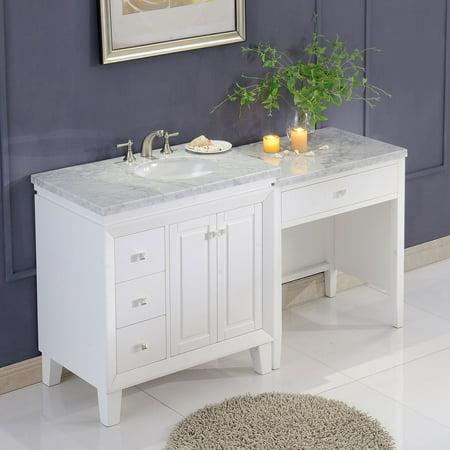 Silkroad Exclusive 67 Transitional Bathroom Vanity Carrara Marble