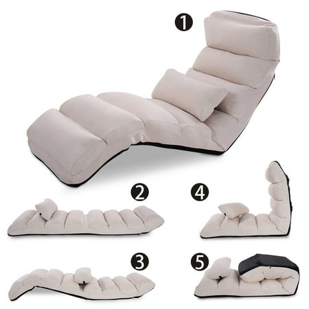 Costway Beige Folding Lazy Sofa Chair Stylish Sofa Couch Beds Lounge Chair W/Pillow ()