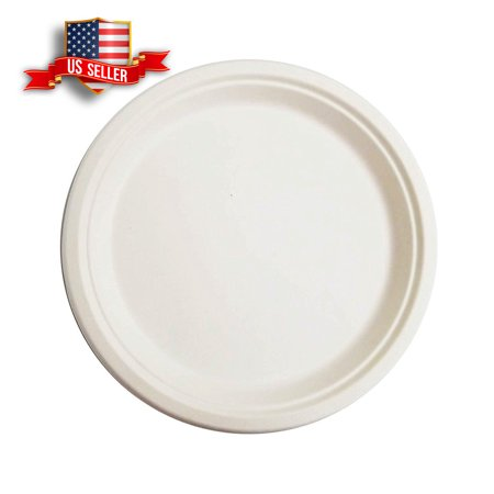 9'' Round Sugarance Pulp Disposable Biodegradable Compostable Paper Plates  (50pcs) - Walmart com