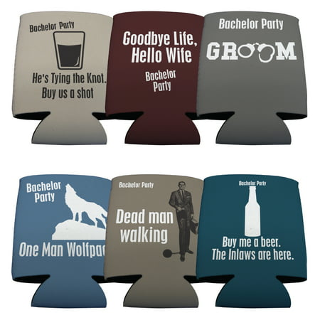 Bachelor Party Drink Can Coolers Goodbye Life Hello Wife- set of - Bachelor Party Ideas Mn