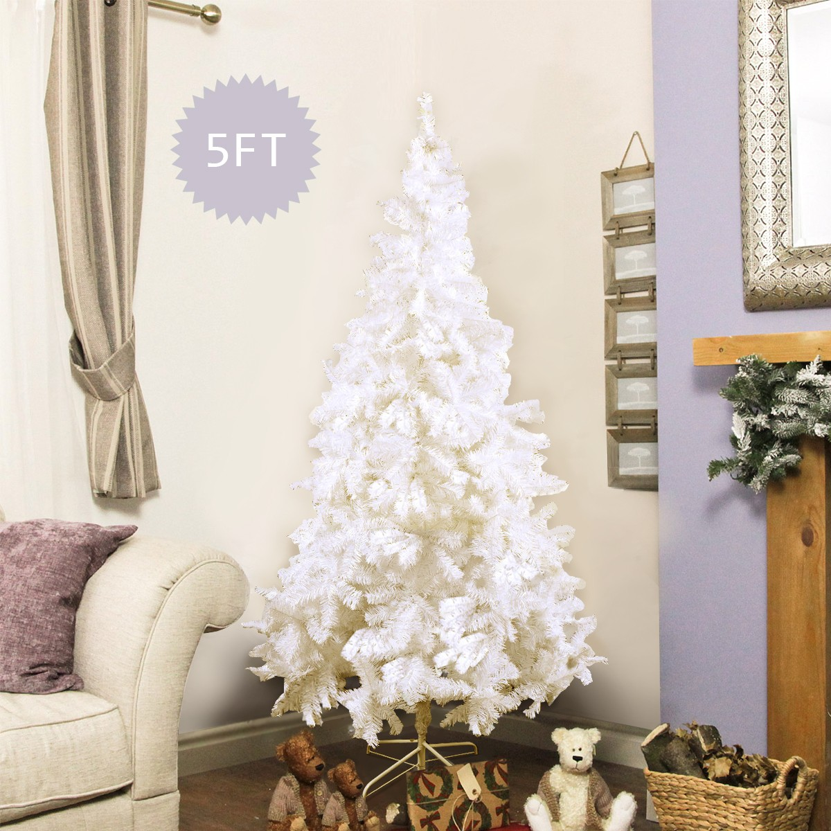 8 ft  White Artificial PVC Christmas Tree w/ Stand
