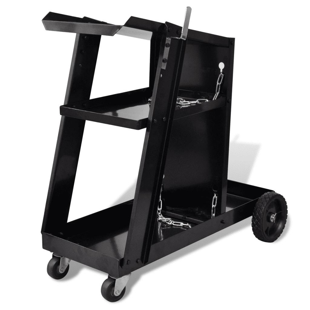 Workshop Welding Cart Organizer with 3 Shelves - Black
