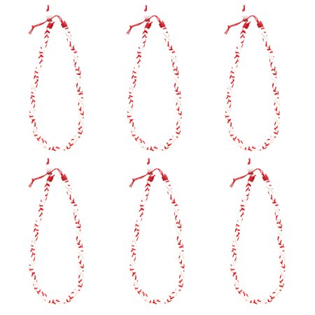 Frogsac 6 Pieces Faux Leather Team Baseball Sports Necklaces for Boys and Girls  Great Party