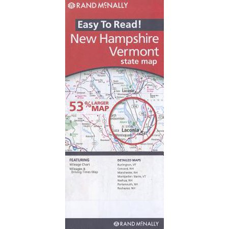 Rand mcnally easy to read! new hampshire/vermont state map: 9780528881916
