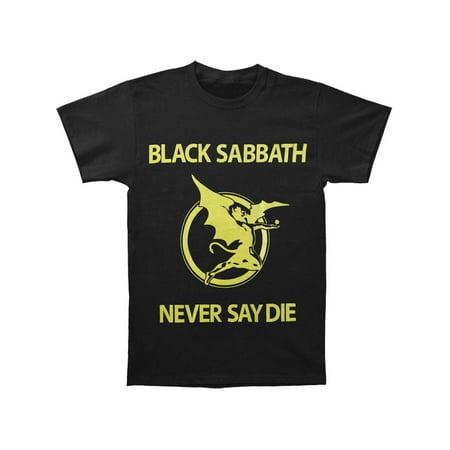Black Sabbath Men's  Never Say Die T-shirt Blue (Black Sabbath Never Say Die Cover Art)