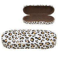 Hard Clamshell Eyeglass Case, Leopard Print Protective Glasses and Sunglasses Holder - For Kids & Adults, Men & Women - Brown
