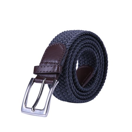 HDE Men's Braided Elastic Stretch Belt Leather Woven Design Silver Finish Buckle
