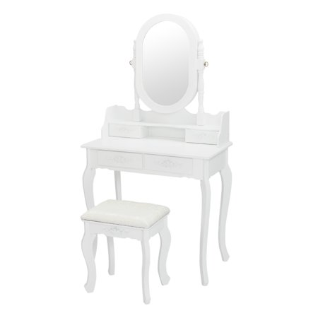 Ejoyous Single Mirror Jewelry Cabinet Dresser with a Dressing Stool White, Dresser, Dressing Table