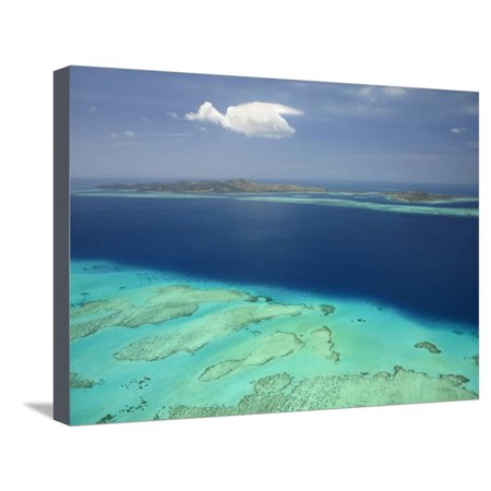 Malolo Barrier Reef and Malolo Island, Mamanuca Islands, Fiji Stretched Canvas Print Wall Art By David Wall