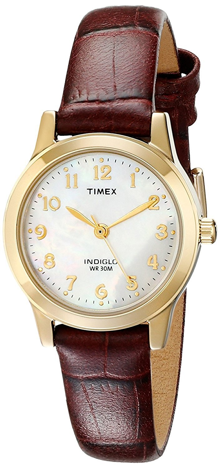 Women's Dress Watch Style # T21693 Elevated Classics Burgundy Leather Strap, Indiglo Night-Light By Timex by